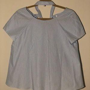 Tops - Blue/white vertical striped shirt. LIGHTLY WORN.